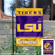 LSU Tigers 4 Time and 2019 Football Champions College Garden Banner