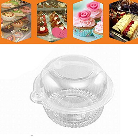 Single Cupcake Box (EECOO Plastic Cake Box,100 x Plastic Single Individual Cupcake Muffin Dome Holders Cases Boxes Cups Pods )