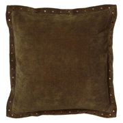 """Rizzy Home Velvet With Antique Brass Metal Studs On Flange Decorative Throw Pillow, 18"""" x 18"""", Plum"""