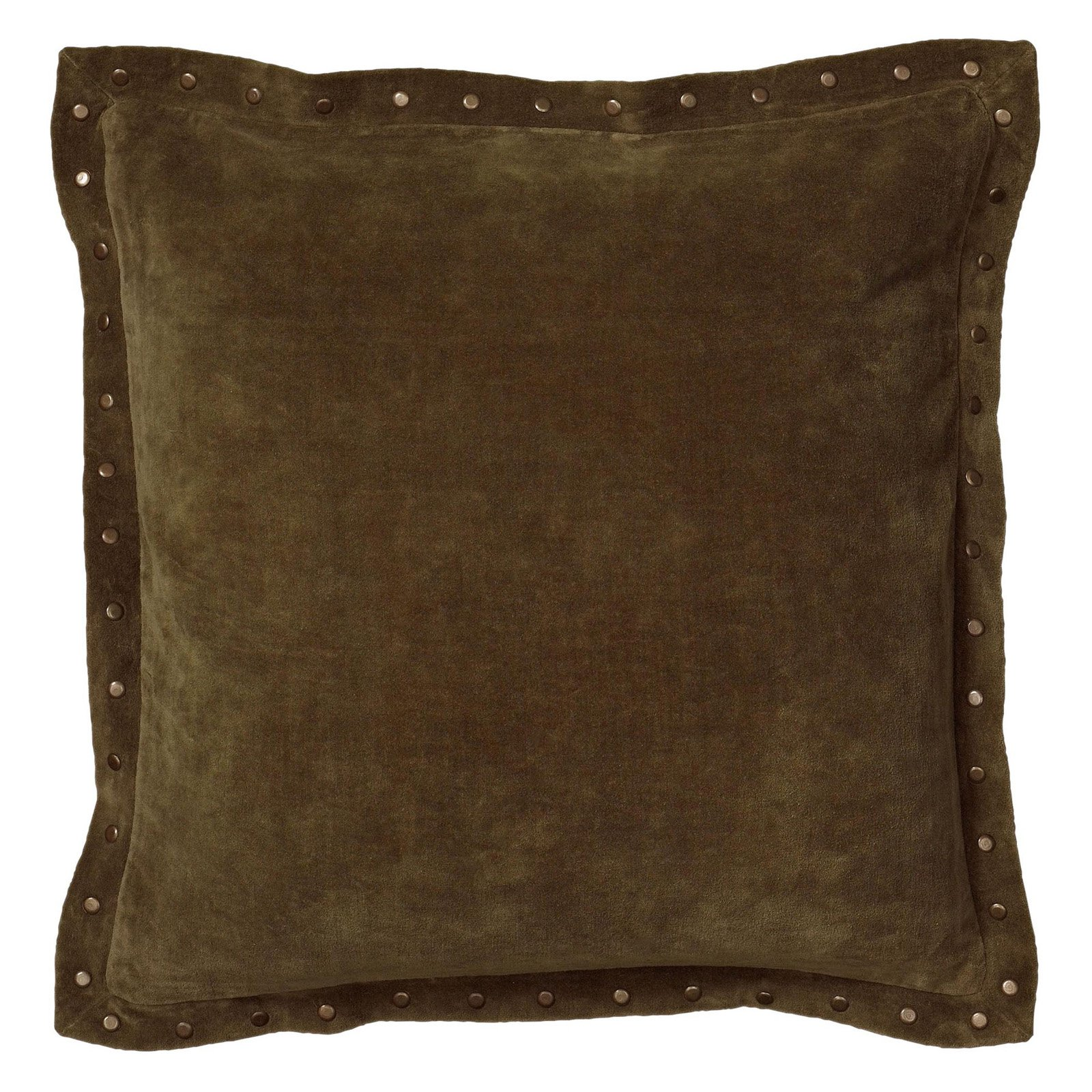 """Rizzy Home Velvet With Antique Brass Metal Studs On Flange Decorative Throw Pillow, 18"""" x 18"""", Green"""