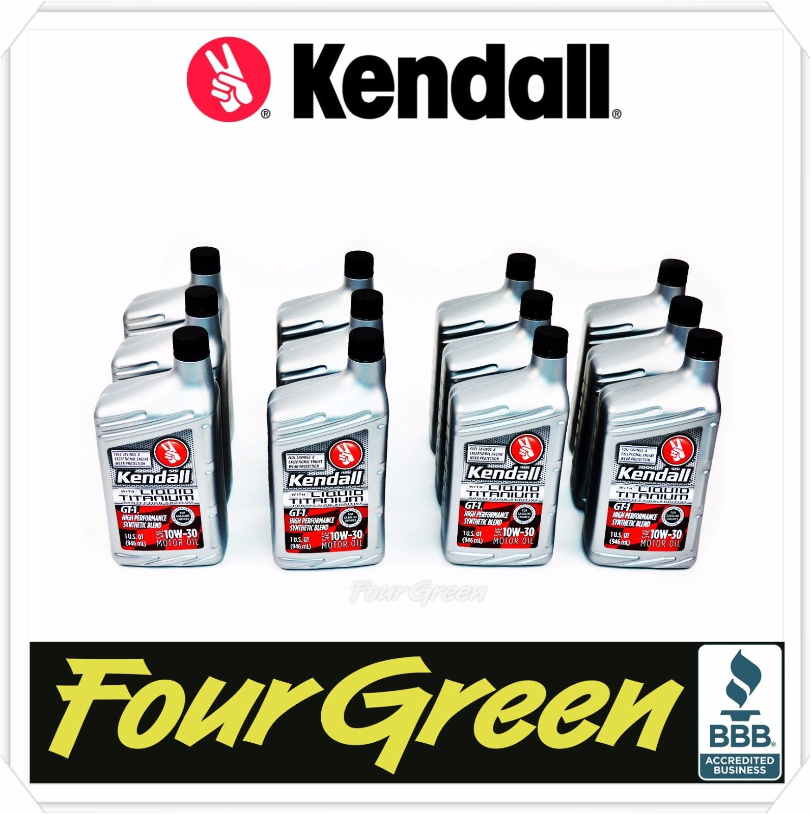Kendall Motor Oil 10W30 GT-1 Synthetic With Liquid Titanium/Engine Protection ( 6 qts )