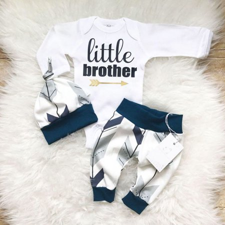 3Pcs Newborn Baby Boy Toddler Clothes Jumpsuit Romper Bodysuit Pants Outfits