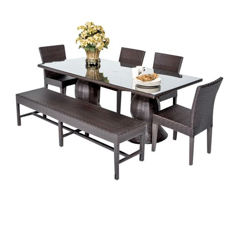 outdoor patio dining table with 4 chairs and 1 bench