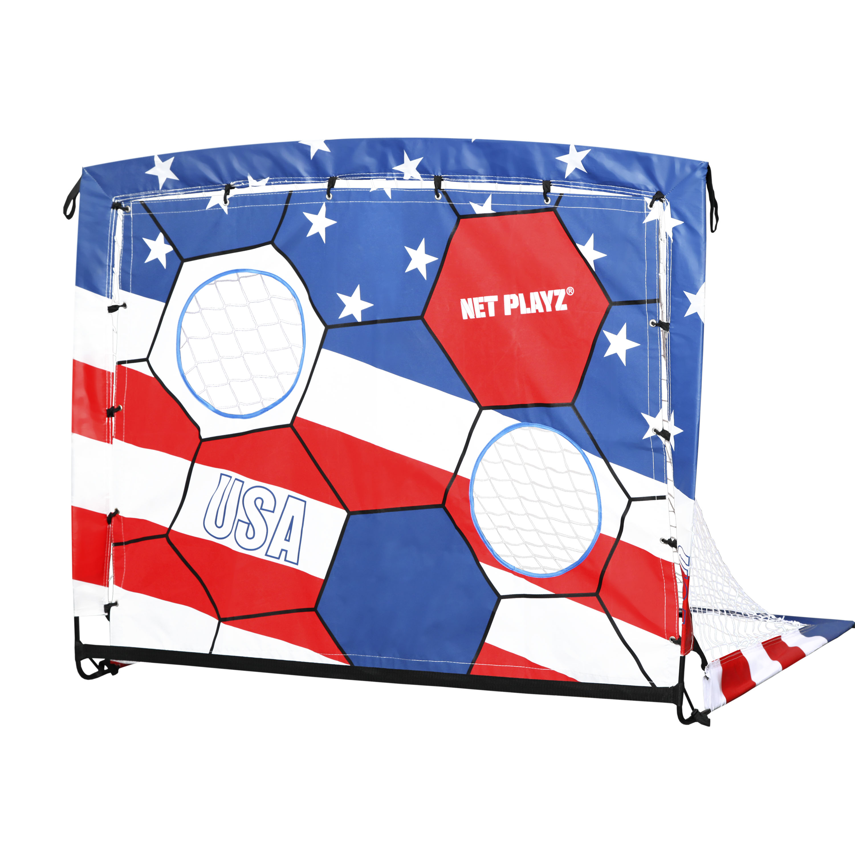 Net Playz 4ftx3ft 2 In 1 Portable Easy Fold-Up Training Soccer Goal with US Flag Target Panel/Carry Bag