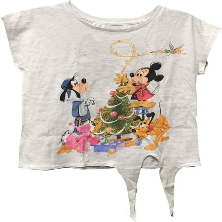 - Mickey Mouse Making Christmas Tree Girl's T-Shirt White Large