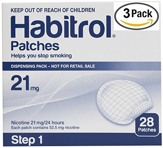 3 pack Habitrol Nicotine Patches 84 patches Step 1 -21mg