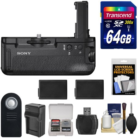 Sony VG-C2EM Vertical Battery Grip for Alpha A7 II, A7R II & A7S II Camera with 64GB Card + (2) Batteries & Charger + Remote + Kit