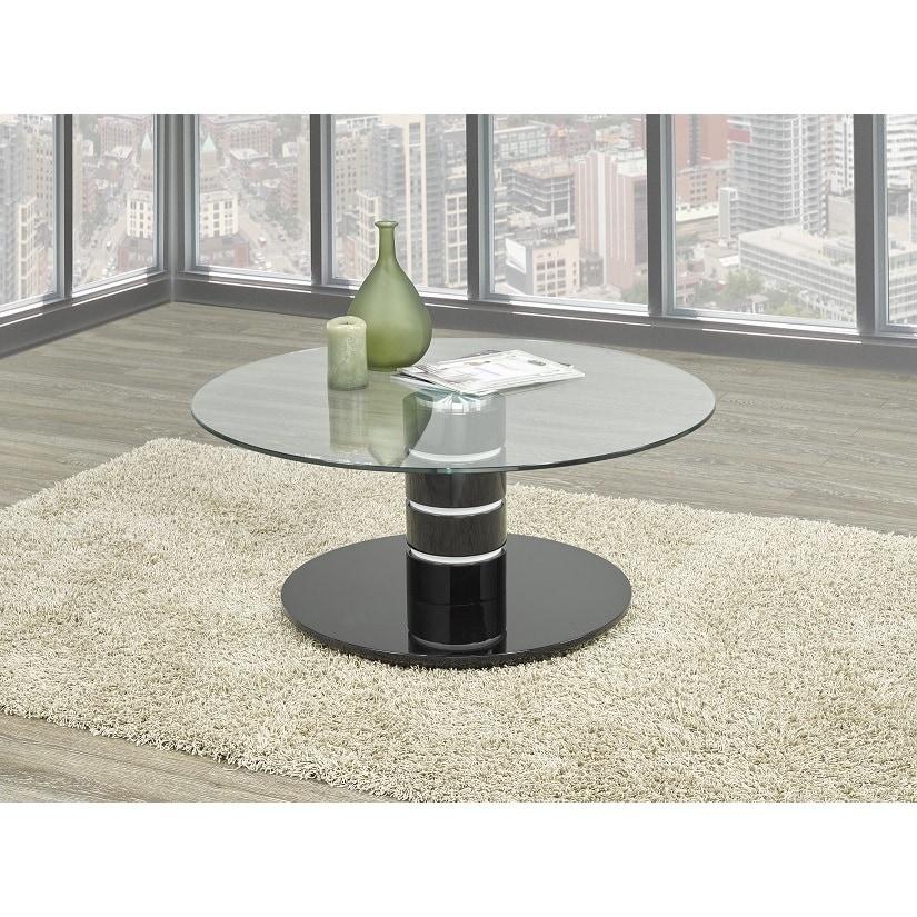 Brassex Inc. Brassex Spencer Glass Top Black Pedestal Coffee Table