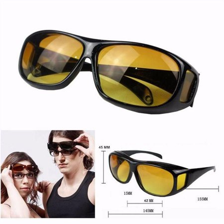 Wrap Around Night Vision Glasses, Fit Over Prescription Glasses with HD Polarized Yellow Lens Night Driving Glasses](Halloween Contact Lens Without Prescription)