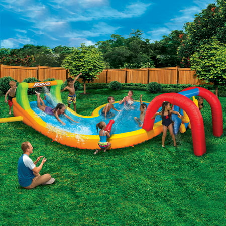 Banzai Water Park Splash Zone (Inflatable Water Slide Summer Backyard Splash Pool Aqua Gun Blaster (The Best Inflatable Water Slides)