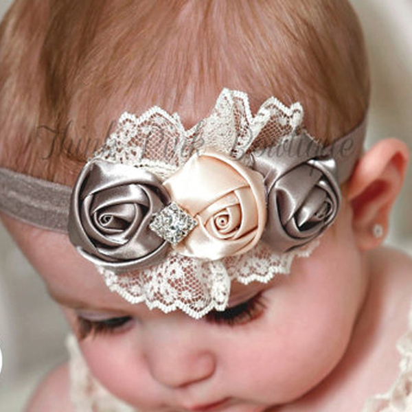 4 Colors Cute Infant Baby Girls Sweet Rose Flowers & Rhinestone Decor Elastic Headband Hair Band Hair Accessories Photo Props
