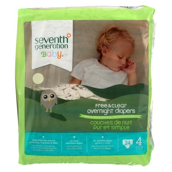 Seventh Generation Free And Clear Overnight Diapers - Stage 4 - Pack of 4 - 24 Count