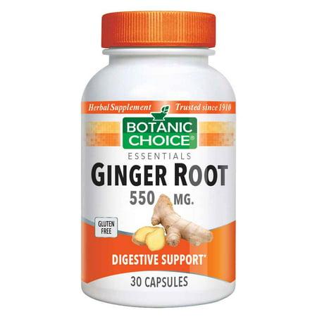Botanic Choice Ginger Root Capsules 550 mg.,30 capsules