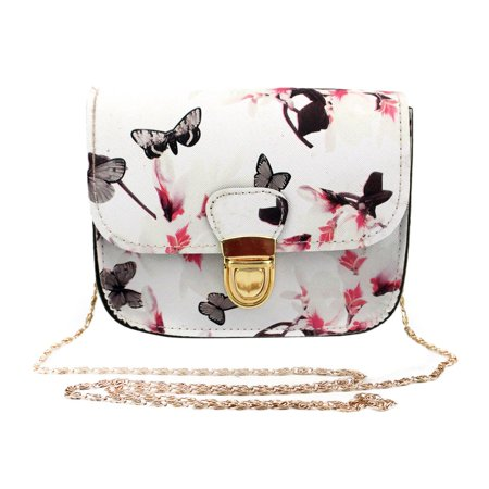 Outtop Women Butterfly Flower Printing Handbag Shoulder Bag Tote Messenger Bag WH