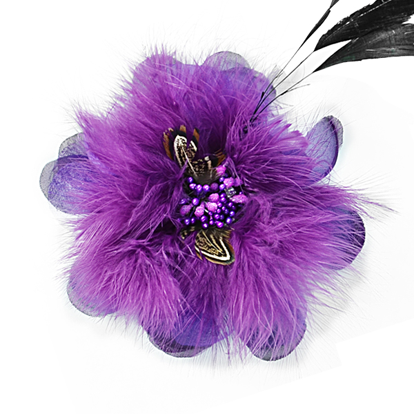 Expo Int'l Sonia Feather Brooch and Hairclip