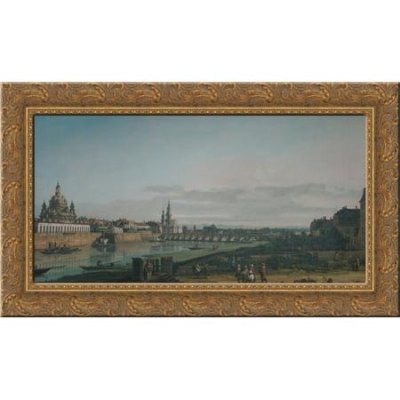 Dresden seen from right bank of the Elbe, below the Augustus Bridge 24x16 Gold Ornate Wood Framed Canvas Art by Bernardo Bellotto (Mtg Bridge From Below)