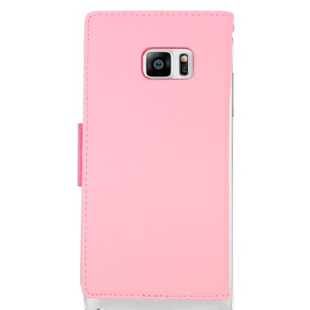 Insten Leather Wallet Case with Card slot & Lanyard For Samsung Galaxy S6 Edge Plus - Pink/Hot Pink - image 2 of 3