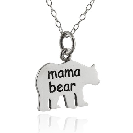 Sterling Silver Mama Bear Necklace, Silhouette Pendant Mother Mom Mother's -