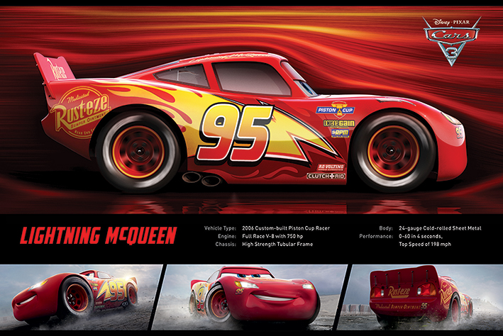 "Cars 3 Disney   Pixar Movie Poster (Lightning McQueen Facts & Stats) (Size: 36"" x 24"") by"