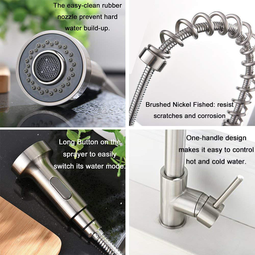 Kitchen Sink Faucet Single Handle Sprayer for effortless flow and temperature control-LIVINGbasics - image 1 de 6
