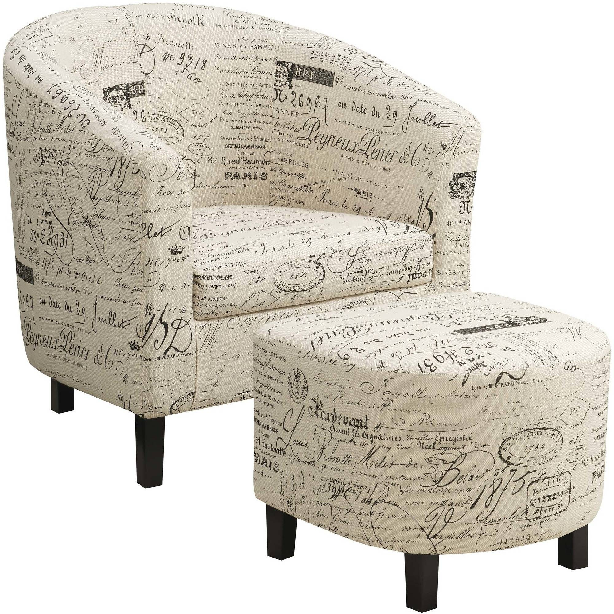 Coaster Company Accent Chair and Ottoman, Off-White