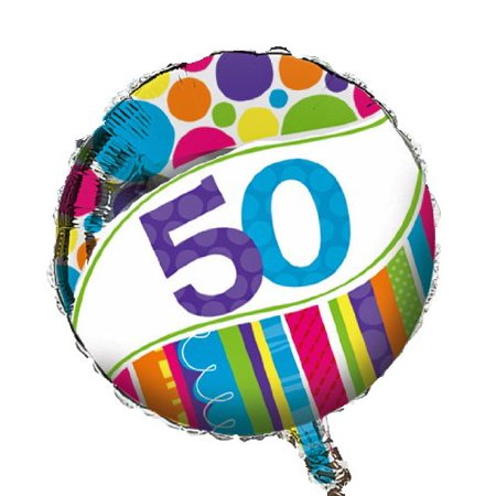 Bright and Bold 50th Birthday 2-Sided Round Mylar Balloon, Foil party balloon celebrates a momentous 50th birthday By Creative (Best Way To Celebrate 21st Birthday)