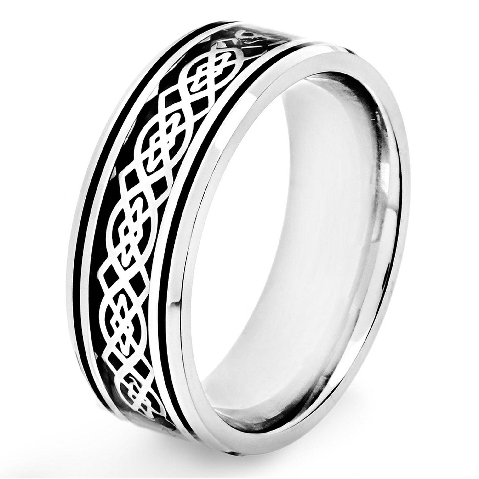 Crucible Stainless Steel Black Carbon Fiber Celtic Knot Design Ring