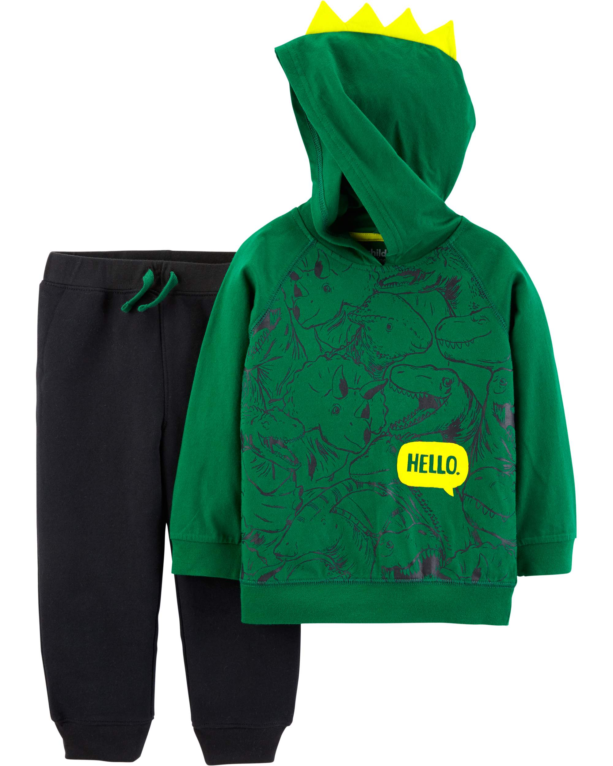 Hooded Long Sleeve Graphic Top & Jogger Pants, 2-Piece Outfit Set (Toddler Boys)