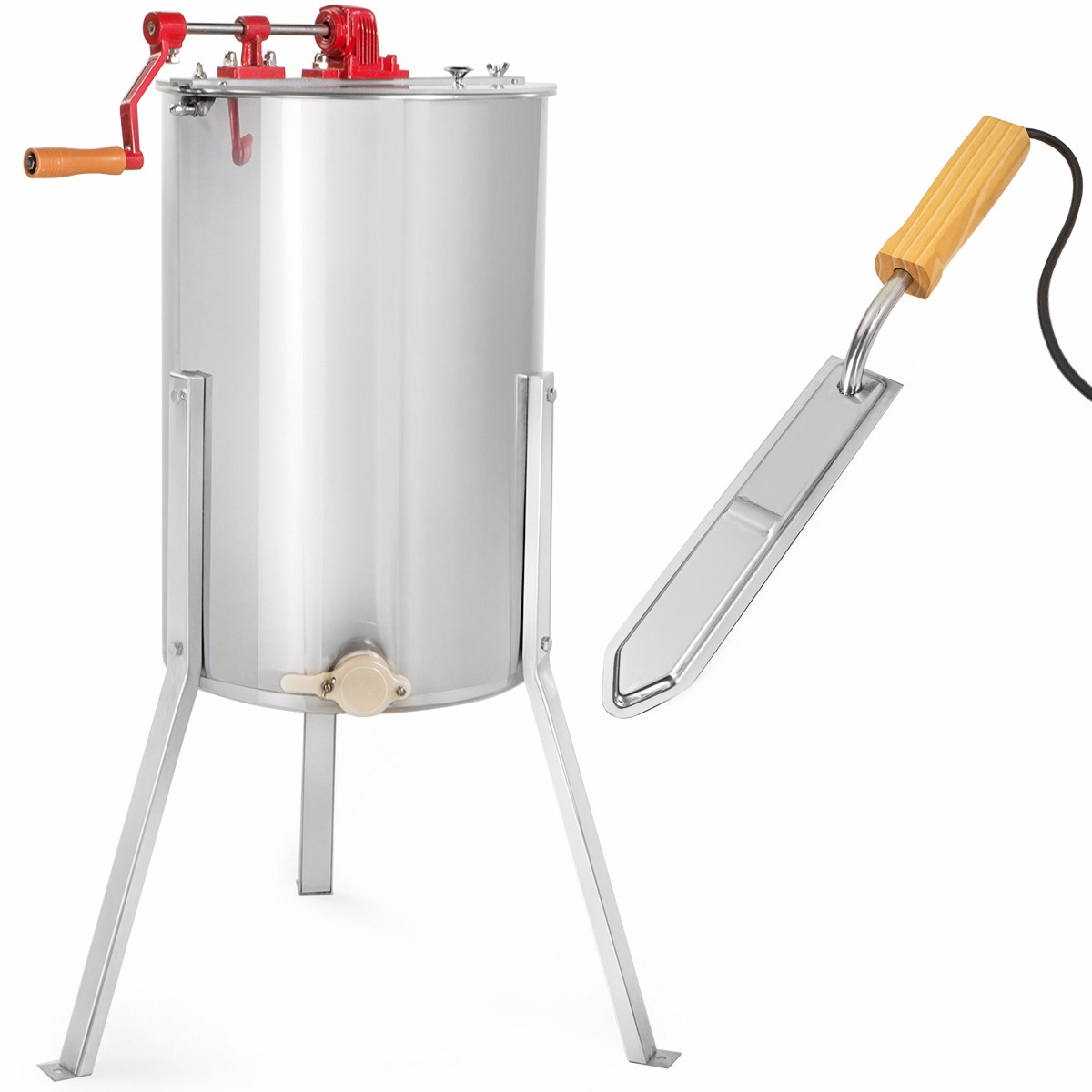 XtremepowerUS 2-Frame Stainless Steel Honey Extractor w/ Electric Uncapping Knife