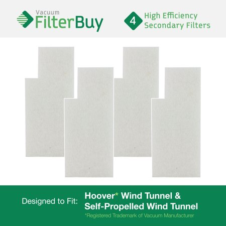 4 - Hoover WindTunnel Secondary Filters. Designed by FilterBuy to fit Hoover Tempo Widepath and Fold Away Vacuum Cleaners. Replaces Hoover parts 38765-019, 38765019, 38765023, and 38765-023.