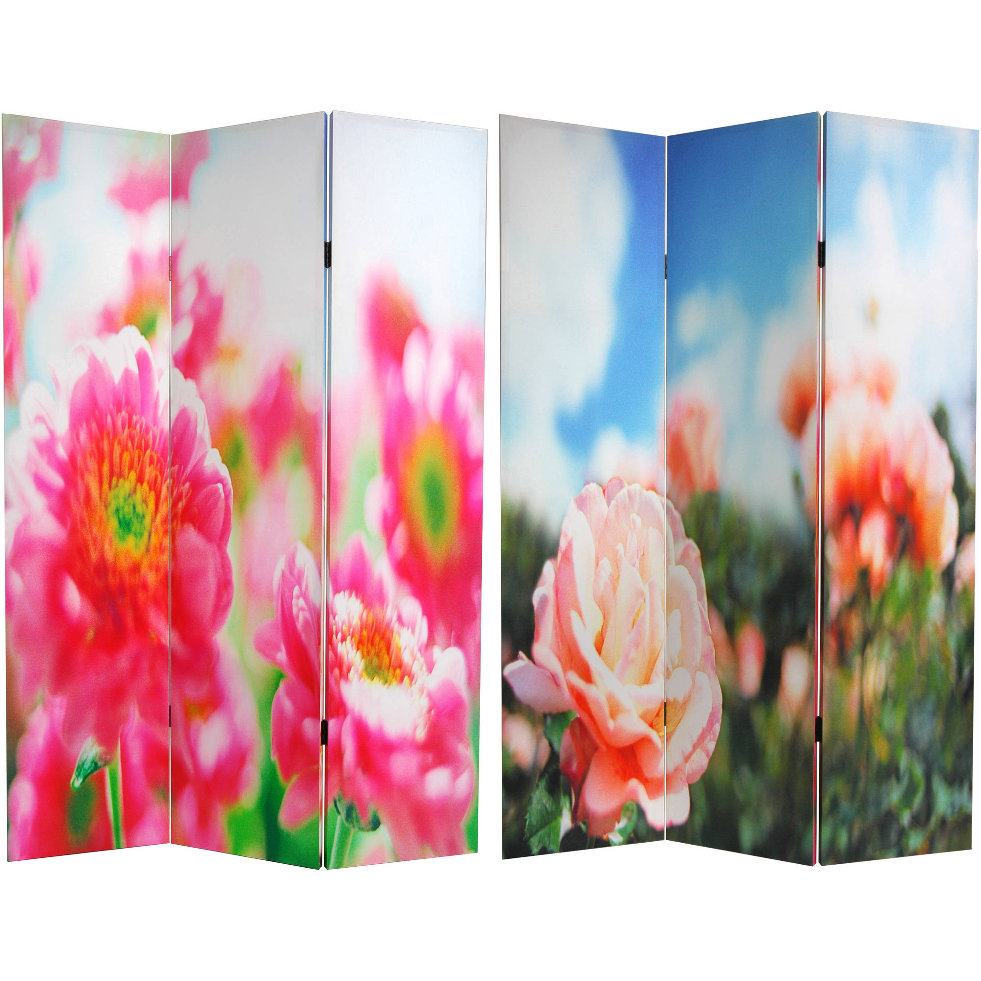 6' Tall Double Sided Summer Flowers Canvas Room Divider