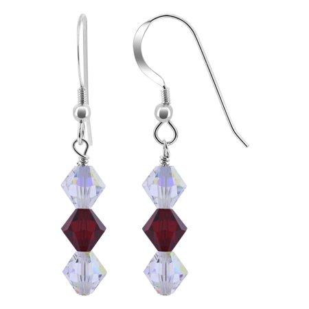 Gem Avenue 925 Sterling Silver Swarovski Elements Clear Crystal Drop Earrings