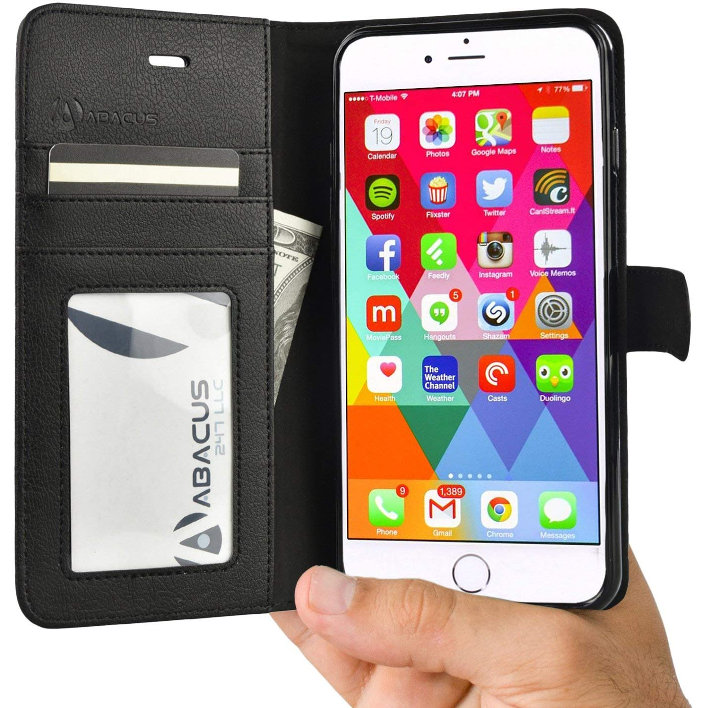 Abacus24-7 iPhone 6 6S Phone Case, Wallet with RFID Blocking Leather Flip Cover and Stand, Black