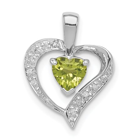 925 Sterling Silver Heart Green Peridot Diamond Pendant Charm Necklace Gemstone Love Gifts For Women For