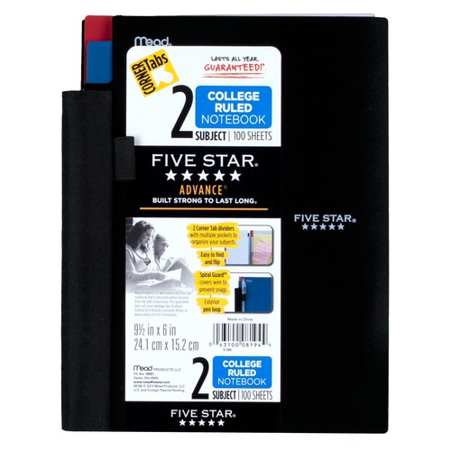 Five Star 2-Subject Notebook