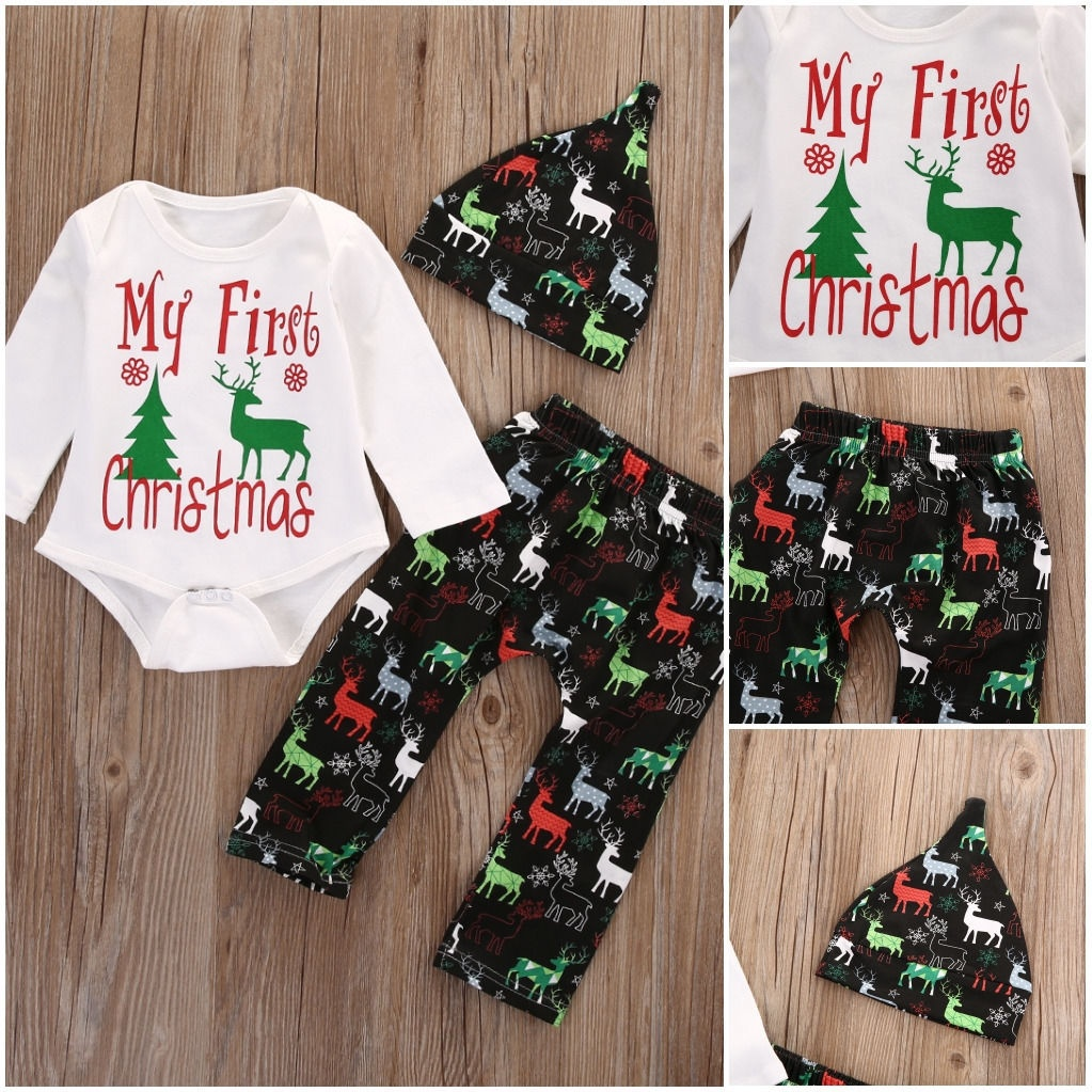 7e13f8edff99 Newborn Baby Boys Girls Christmas Clothes Tops Romper Pants Hat ...
