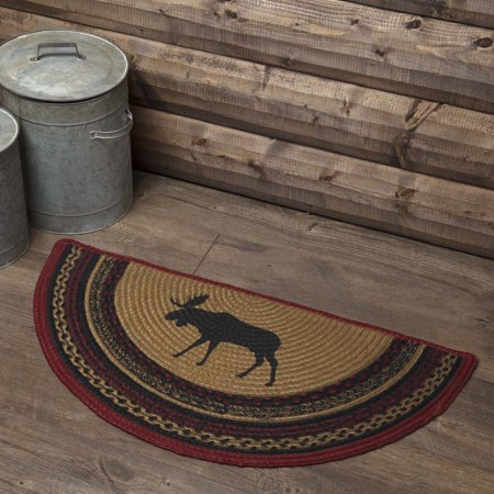Printed Circles (Almond Tan Rustic & Lodge Flooring Shasta Cabin Moose Jute Stenciled Nature Print Half Circle Accent Rug )