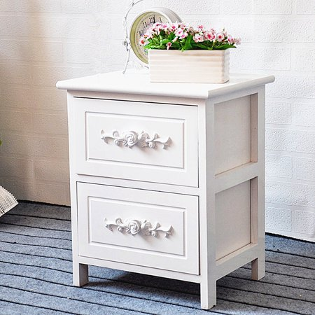 Nightstand White Classic 2 Tier Curving Flower Pattern Sides Night Stand Storage Bedside Table with 2 Drawer Real Natural Paulownia Wood Ending Table Bedroom Livingroom | 2 Tier Two Tiered Wood Table
