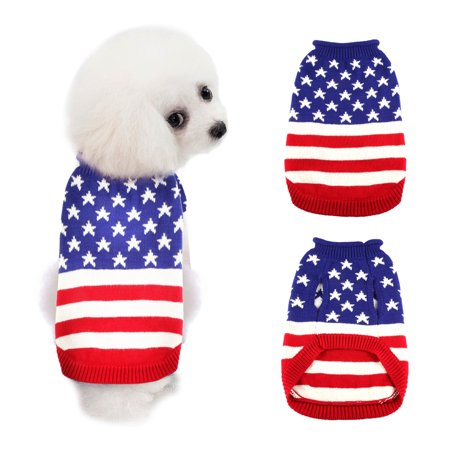 Pet Sweaters Winter Warm Knitwear Jumper Coat with American Flag Pattern Clothes for Dogs Cats Puppy in Autumn Winter