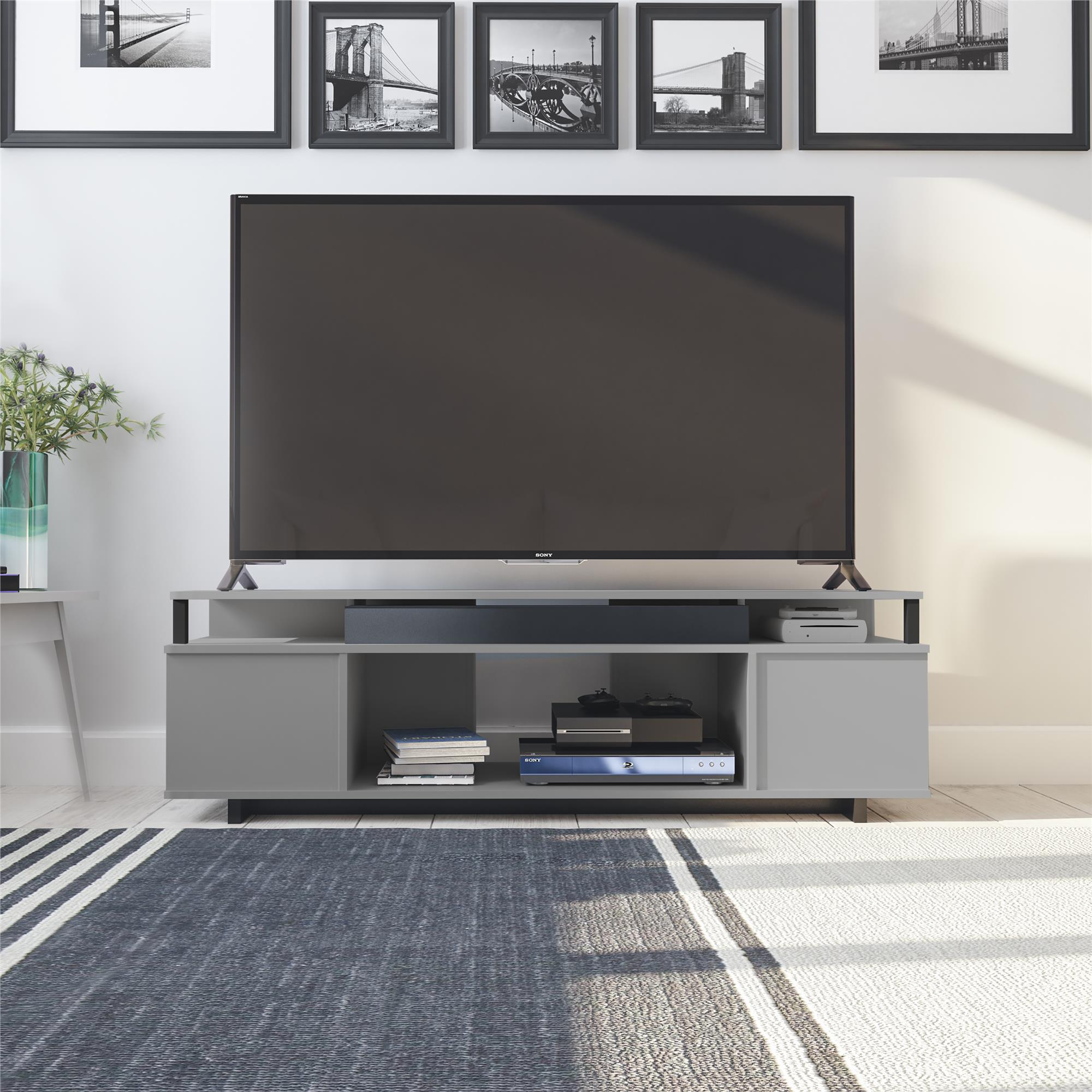 Tv Media Stand For Tvs Up To 65 Inch Gray Console Entertainment