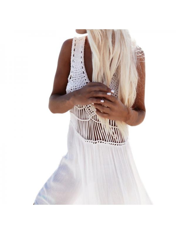 Ropalia Women Bikini Cover Up Dress Chiffon Crochet Beach Long Bathing Suit