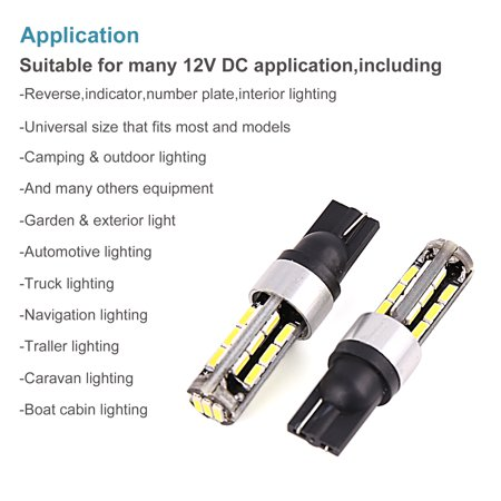 2pcs T10 W5W 27 4014-SMD-LED White Car Wedge Dome Reading Light Bulbs 194 168 - image 7 of 9