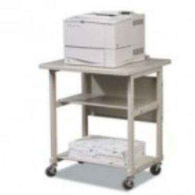 BALT Heavy-Duty Mobile Laser Printer Stand,Three-Shelf,27w x 25d x 27-1/2h,Gray SKU:22601; Manufacturer:MooreCo, Inc; Manufacturer Part Number:22601; Brand Name:Balt; Product Type:Printer Stand;  Total Number of Shelves:2; Number of Casters:6; Caster Type:Locking Wheels; Height In Inches:5.00; Width In Inches:31.00; Depth:25.0 ; Length In Inches:30.00; Weight (Approximate):61.00 lb; Recycled:No;Designed to accommodate the heaviest and biggest printers or business machines. Additional shelves provide convenient storage for paper and supplies. Wheels roll for mobility and lock for security. Color: Gray; Capacity (Weight): 200 lbs.; Caster/Glide/Wheel: Four 3 Casters (2 Locking); Material(s): Steel; Laminate.