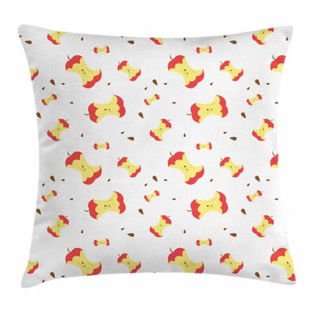Apple Throw Pillow Cushion Cover, Eaten Fruit with Scattered Seeds Taking the Daily Vitamin Summer Season Yield, Decorative Square Accent Pillow Case, 16 X 16 Inches, Coral Yellow Umber, by Ambesonne