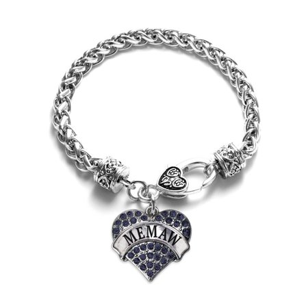 Inspired Silver Memaw Navy Blue Pave Heart Charm Bracelet - Inspired By Charm