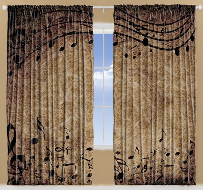musical notes bohemian hippie living room curtains 2panels set