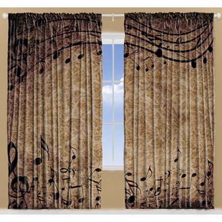 Musical Notes Bohemian Hippie Living Room Curtains 2Panels Set 108x90 Inches ()