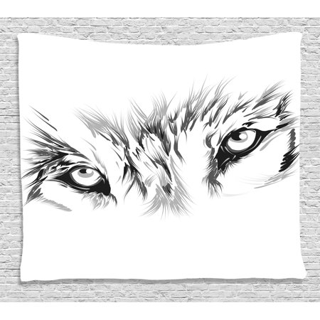 Animals With Tattoos (Tattoo Decor Tapestry, Winter Time Animal White Wolf with its Eyes Looking Straight and Fierce, Wall Hanging for Bedroom Living Room Dorm Decor, 80W X 60L Inches, White and Black,)