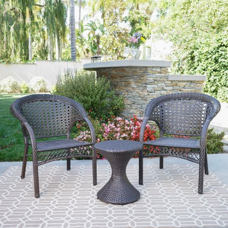 3 Piece Stacking Table (Bobby Outdoor 3 Piece Wicker Chat Set with Stacking Chairs and Hourglass Side Table, Multibrown )