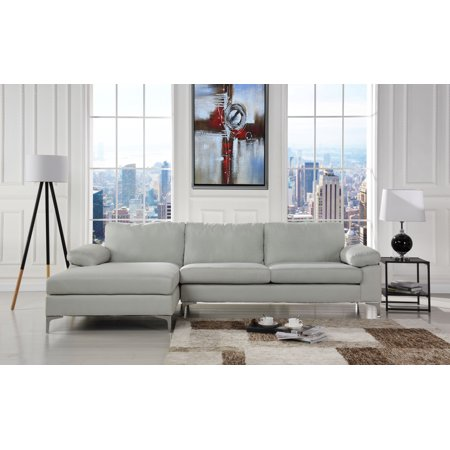 Modern Large Linen Fabric Sectional Sofa, L-Shape Couch with Extra ...